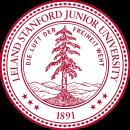 Siegel der 'Leland Stanford Junior University' - man beachte das Deutsche Motto, dass die Universität hat