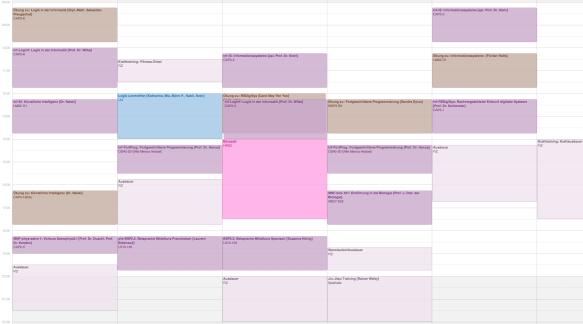 Mein Wochenplan bis zum Sommer