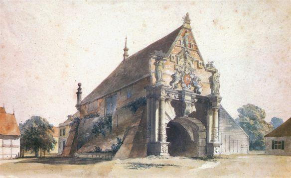 Aquarell von George Ernest Papendiek des alten Hohentor um 1822, kurz vor dem Abriss gibt Aufschluss darüber, wie Imposant die Bremer Stadttore waren; Public Domain, da Urheber über 70 Jahre tot.