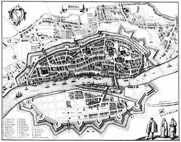 Bremen um 1641, Abbildung von Matthäus Merian, d.Ä.; Public Domain da Urheber über 100 Jahre tot.
