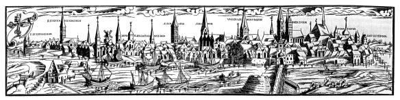 Älteste Ansicht Bremens (Holzschnitt von Hans Weigel d.Ä., 1564); Public Domain