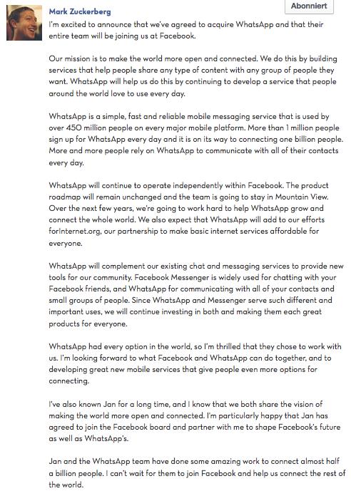 Zuckerberg zum WhatsApp kauf